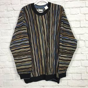 Bachrach Heavy MultiKnit Striped Crewneck Sweater